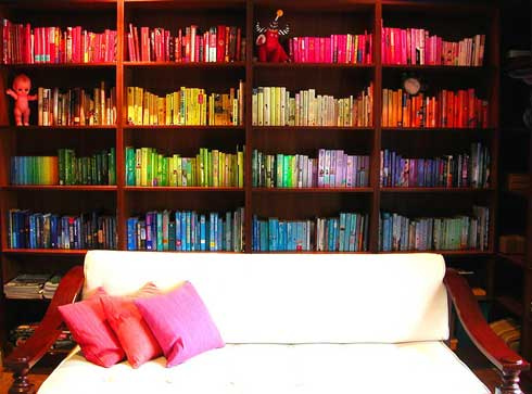 Try organizing your books by color. I love the rainbow effect on this bookshelf. Source:  Flickr User this_could_be_my_house