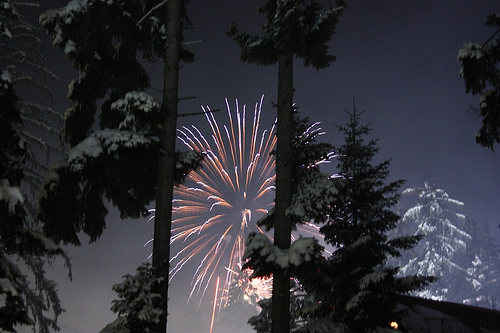 Gorgeous, snow-covered trees are back-lit by fireworks at Borovets, the oldest Winter lodge in Bulgaria.  Source:  Flickr User Klearchos Kapoutsis