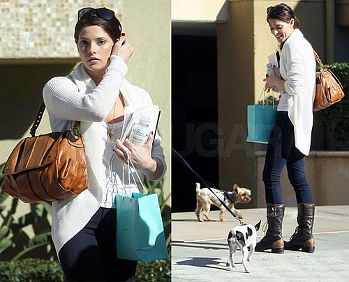 Ashley Greene in LA in White Sweater, Denim Leggings, and Brown Boots