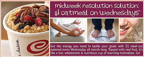 Get $1 Oatmeal on Wednesdays at Jamba Juice