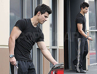 Photos of Taylor Lautner Leaving the Gym Wearing All Black in LA