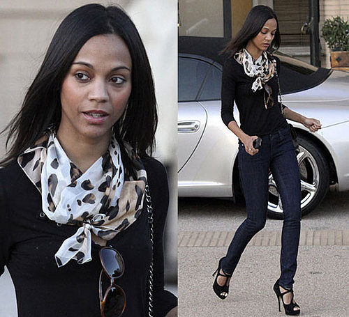 Photos of Zoe Saldana Shopping in Beverly Hills Wearing Black Shirt, Blue Jeans, and Chanel Bag