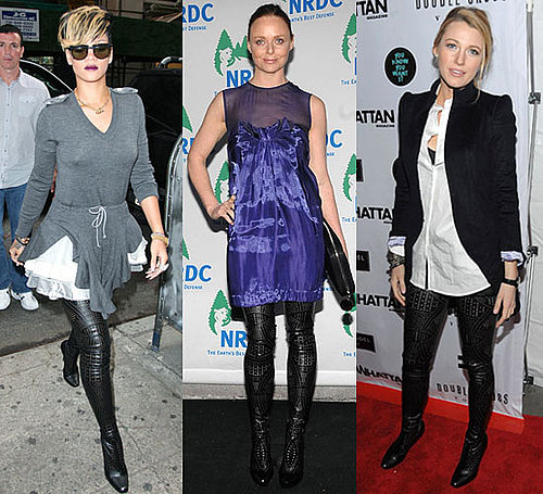 Photo of Rihanna, Stella McCartney, and Blake Lively Wearing Stella McCartney Perforated Over-the-Knee Boots