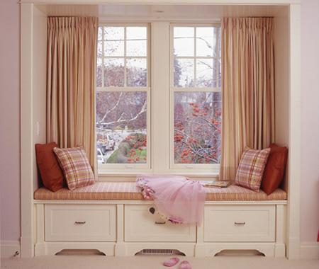 If you have a bay window in your bedroom, it's a no-brainer to include room for a window seat in your remodeling plans. Check out these directions to learn how to build one by yourself. Source