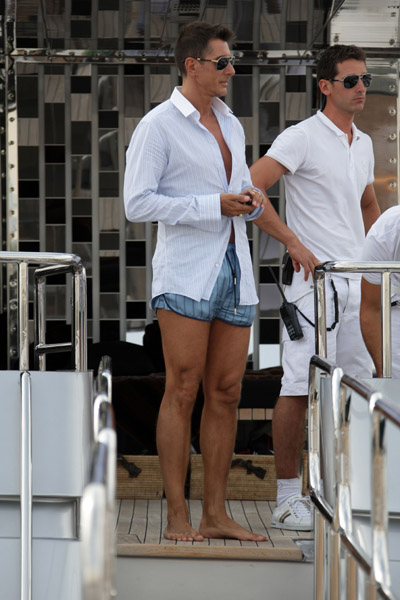 May 22: Stefano Gabbana on his yacht, Regina D'Italia