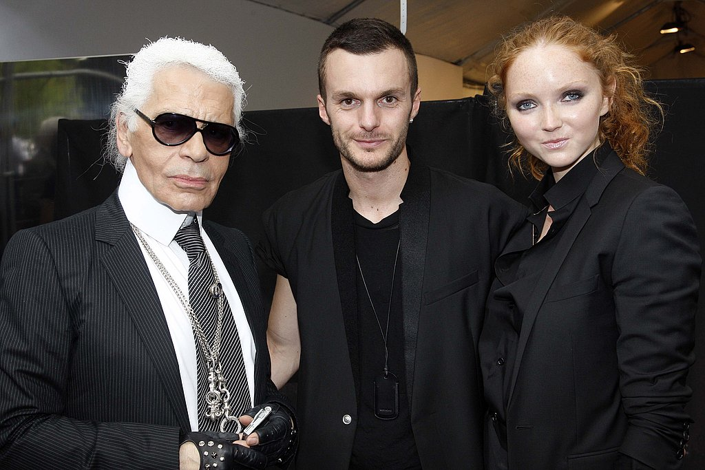 June 28: With Kris van Assche and Lily Cole at Dior Homme Spring 2010