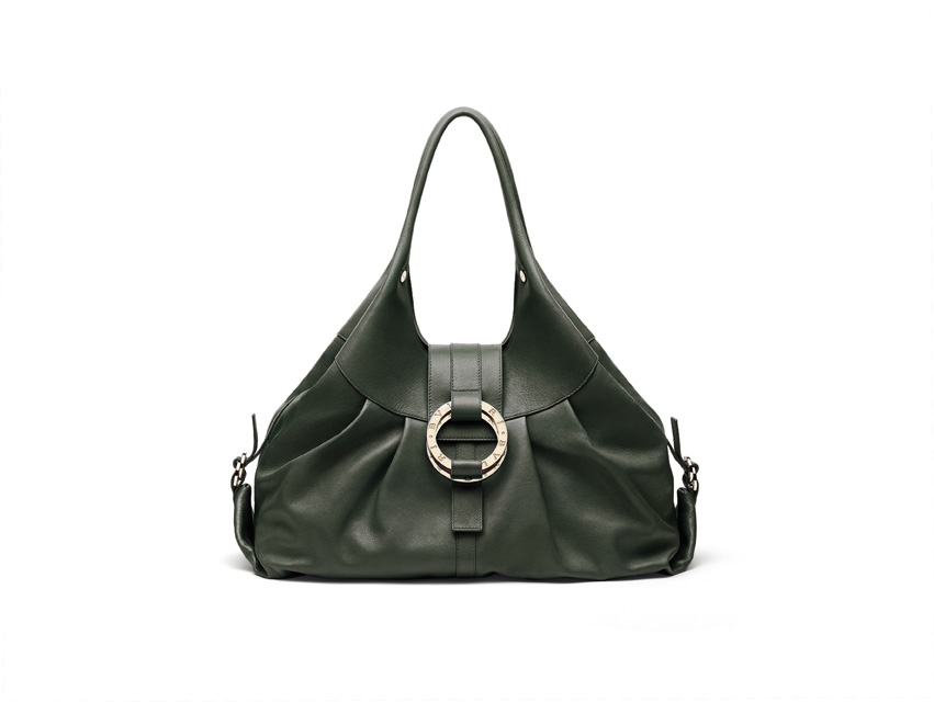 $2,100 Dalya Doppio Tondo in green forest color buffalo leather. Debra - Bi-colored handbag in broze color calf leather