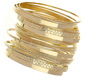 Hammered gold bangles...