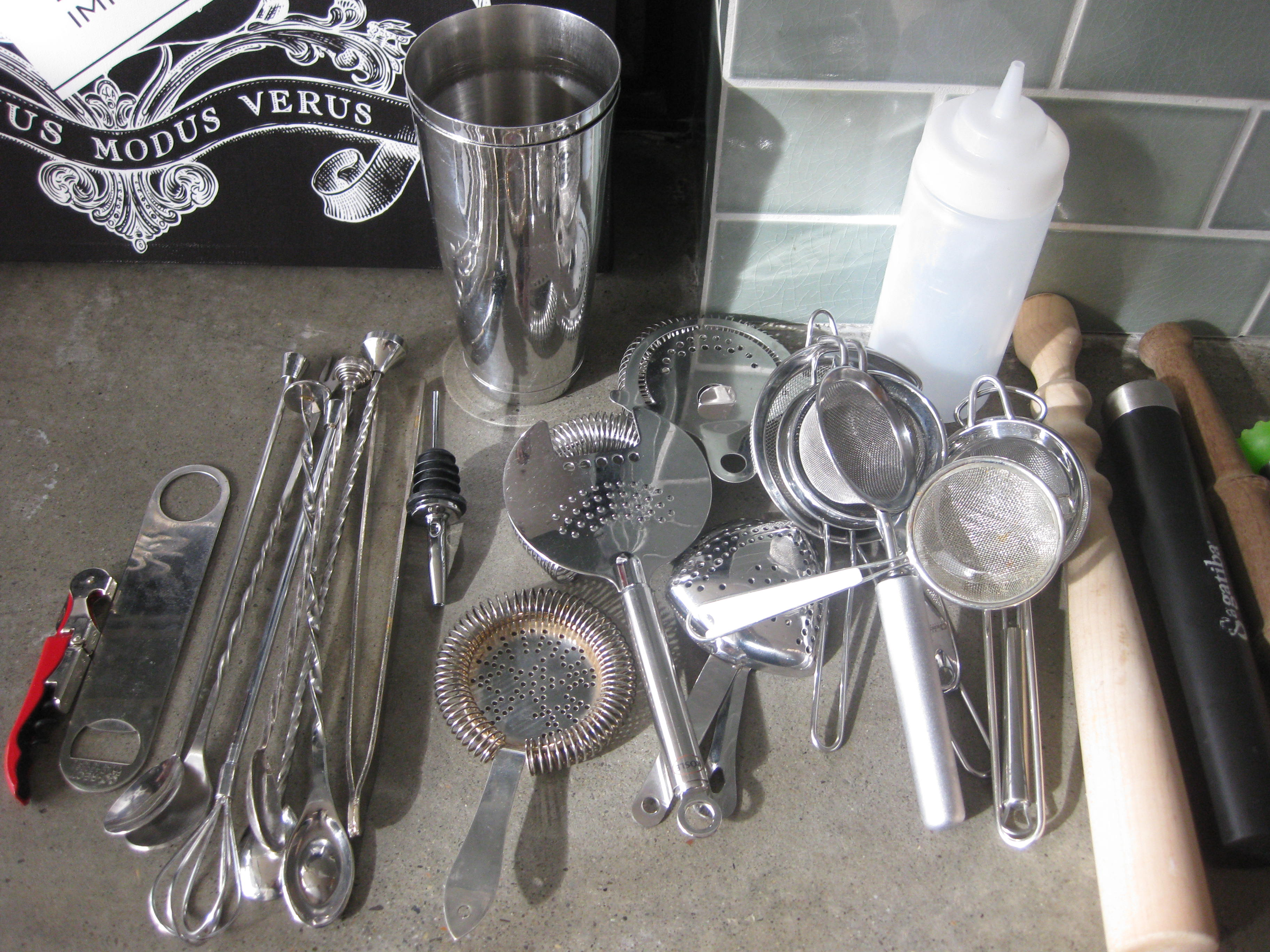 Bartender Josh Harris' collection of strainers, muddlers, and bar tools.