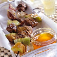 Jamaican Pork and Melon Skewer Recipe
