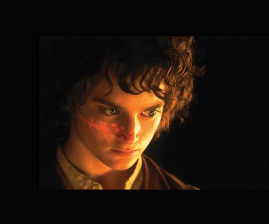 Frodo Baggins (Elijah Wood) in the Lord of the Rings trilogy