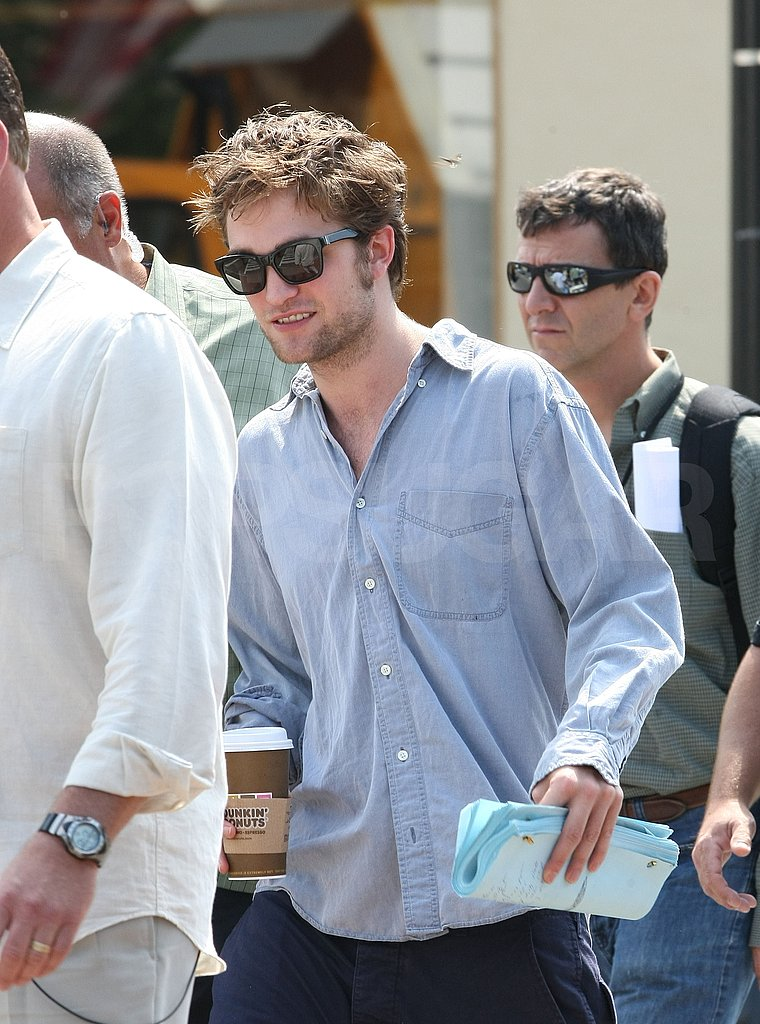 Photos of Robert Pattinson Drinking Coffee On the Set