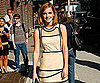 Slide Photo of Emma Watson In a Beige Dress At the Late Show With David Letterman