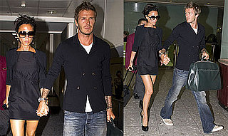 Photos of David Beckham and Victoria Beckham at Heathrow Airport