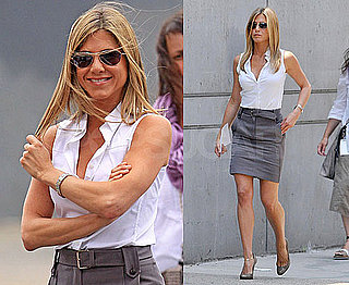 Photos of Jennifer Aniston Wearing a Pencil Skirt on the Set of The Bounty