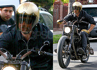 Photos of Brad Pitt Riding One Of His Motorcycles in LA