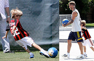 Photos of David Beckham and Romeo Beckham Playing Soccer Together in LA