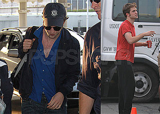 Photos of Robert Pattinson Filming Remember Me with Emilie de Ravin in NYC, Flying out of JFK on His Way to Comic-Con