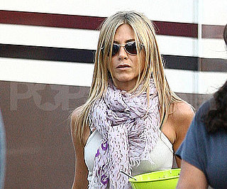 Slide Photo of Jennifer Aniston Wrapped Up on The Bounty Set