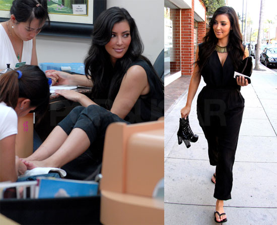 Photos of Kim Kardashian at the Salon