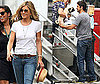 Photos of Jennifer Aniston and Gerard Butler Playing With Dogs On the Set of Bounty Hunter