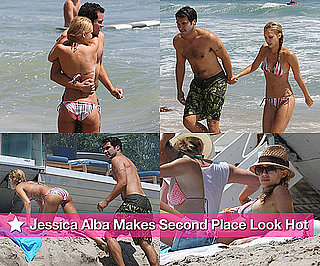 Bikini Photos of Jessica Alba with Shirtless Cash Warren at Malibu After Scoring Second Place in PopSugar's Swimsuit Contest
