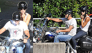 Photos of George Clooney Riding a Motorcyle With New Girlfriend Elisabetta Canalis