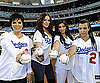 Slide Photo of Kim Kardashian, Khloe Kardashian, Kourtney Kardashian, Kris Kardashian at Dodgers Game in LA