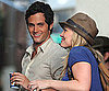 Slide Photo of Penn Badgley, Hilary Duff Grabbing Coffee Filming Gossip Girl in NYC