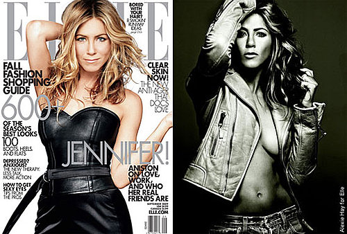 Photos and Quotes of Jennifer Aniston Braless Talking About Lonely Girl Status in Elle September 2009