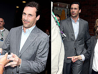 Photos of Jon Hamm Filming Good Morning America in NYC