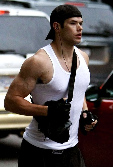 Photos of a Sleeveless Kellan Lutz Running in Vancouver
