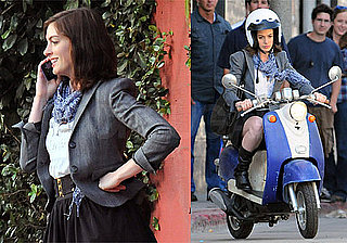 Photos of Anne Hathaway Filming Valentine's Day on a Scooter