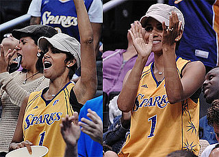 Photos of Halle Berry at WNBA Sparks Game