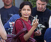 Slide Photo of Freida Pinto on Set in London at Woody Allen Movie