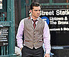 Slide Photo of Ed Westwick Dressed Up Shooting Scenes For Gossip Girl