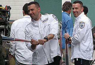 Photos of Ben Affleck Playing With a Baseball Bat on The Boston Set of The Town
