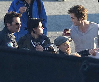 Slide Photo of Robert Pattinson Laughing With Kristen Stewart on Eclipse Set
