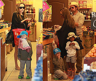 Photos of Shiloh Jolie-Pitt, Zahara Jolie-Pitt, Brad Pitt, Angelina Jolie Food Shopping in France