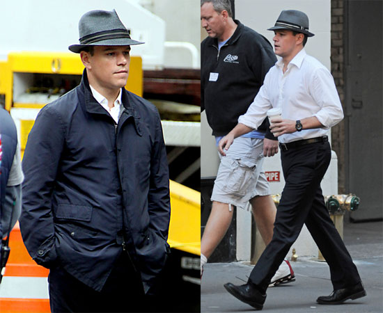 Photos of Matt Damon on Set for The Adjustment Bureau 2009-10-12 09:30:08