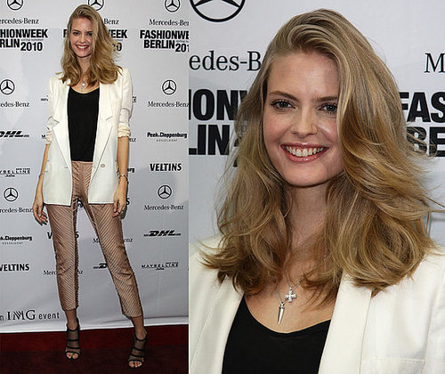 Model Julia Stegner Attends Berlin Fashion Week in Ivory Blazer, Cropped Pants, and Stella McCartney Mesh Shoes