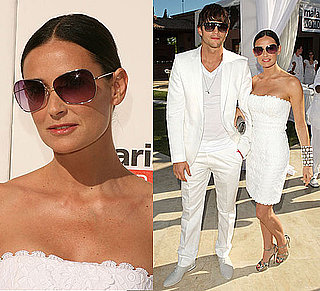 Demi Moore In a White Strapless Dress in the Hamptons With Ashton Kutcher