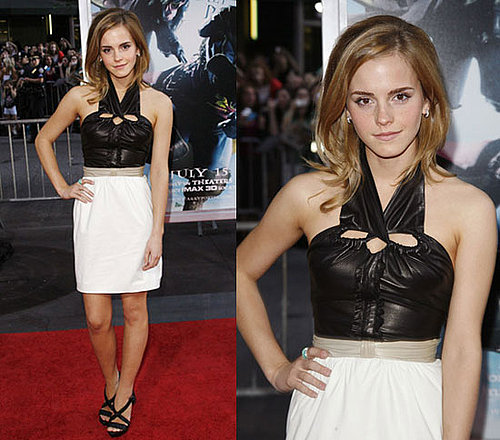 Actress Emma Watson Wears Leather Halter Proenza Schouler Dress to Harry Potter Premiere