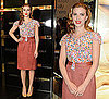Scarlett Johansson Promotes Dolce and Gabbana's New Makeup Line Wearing a Floral Dolce and Gabbana Blouse and Pencil Skirt