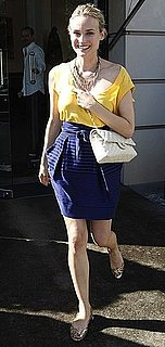 Actress Diane Kruger Shopping in Berlin in Blue Print Tulip Skirt, Yellow Top, and Chanel Bag