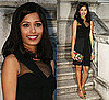 Photo of Freida Pinto Wearing Black Dress in London Promotion Slumdog Millionaire