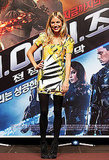 Sienna radiated in her Diane von Furstenberg frock and suede booties at the Seoul promotion.