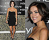 90210 Actress Jessica Stroup in Black Strapless Lace Insert Dress at InStyle's Annual Summer Party