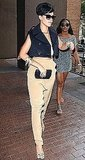 Singer Rihanna in New York City Wearing Silky Khaki Pants and Cropped Navy Vest