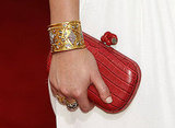 Leighton's red crocodile Bottega clutch and heavenly jewels.
